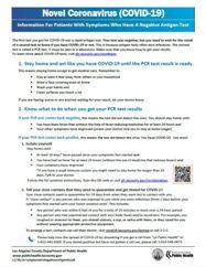 Information sheet for symptomatic patients with negative antigen tests